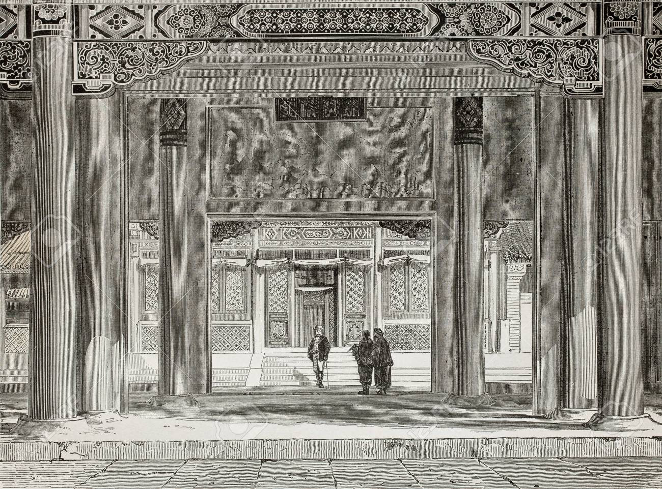 Old illustration of British Legation in Beijing. Created by Therond, published on Le Tour du Monde, Paris, 1864 Stock Photo - 15155960