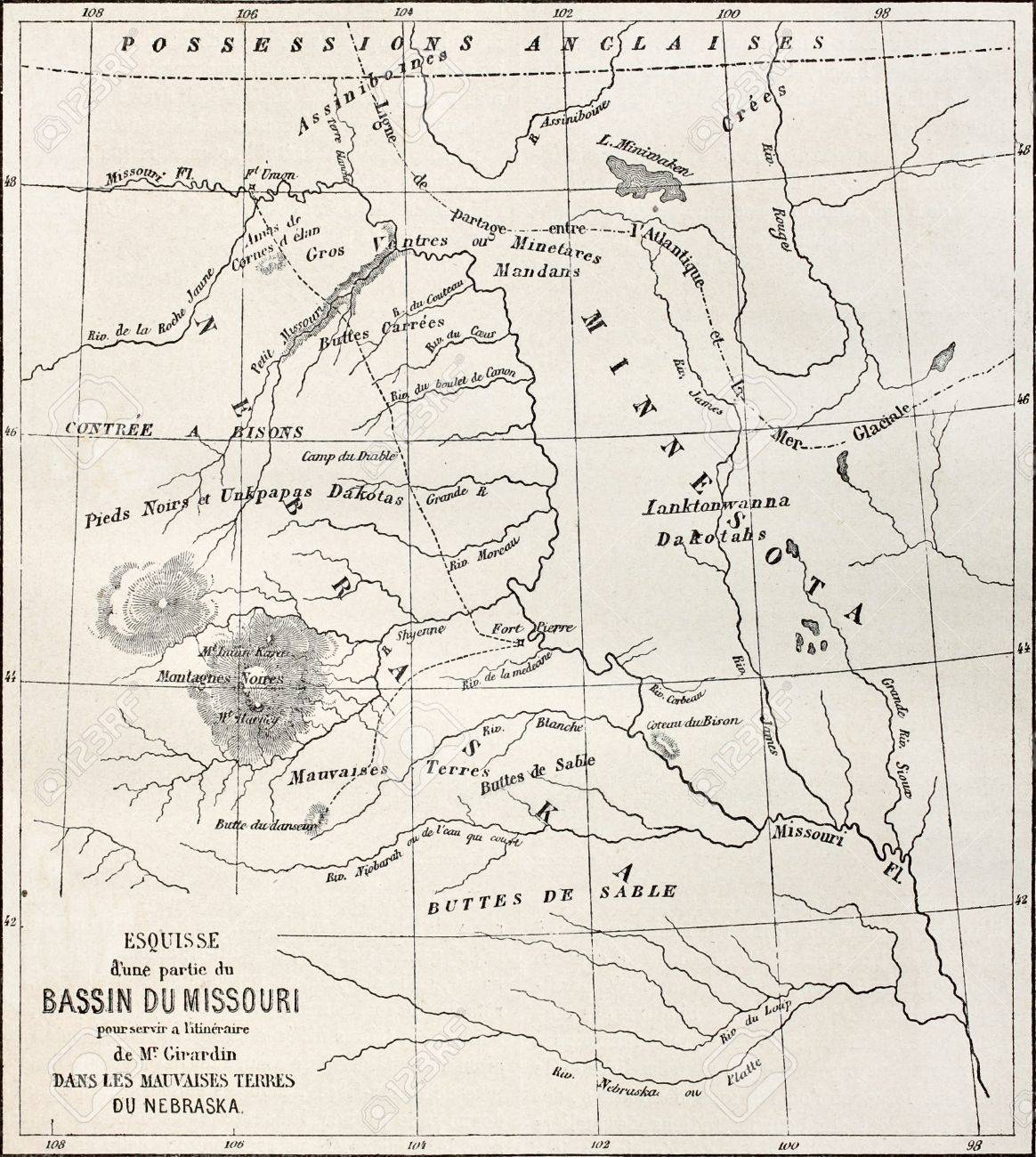 Old Map Of Part Of Missouri Basin In Nebraska USA Created By - Nebraska us map