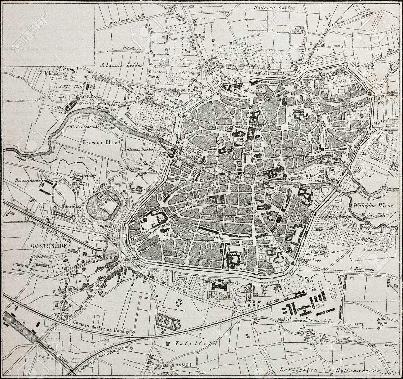 Old Map Of Nuremberg Germany From Unknown Author Published
