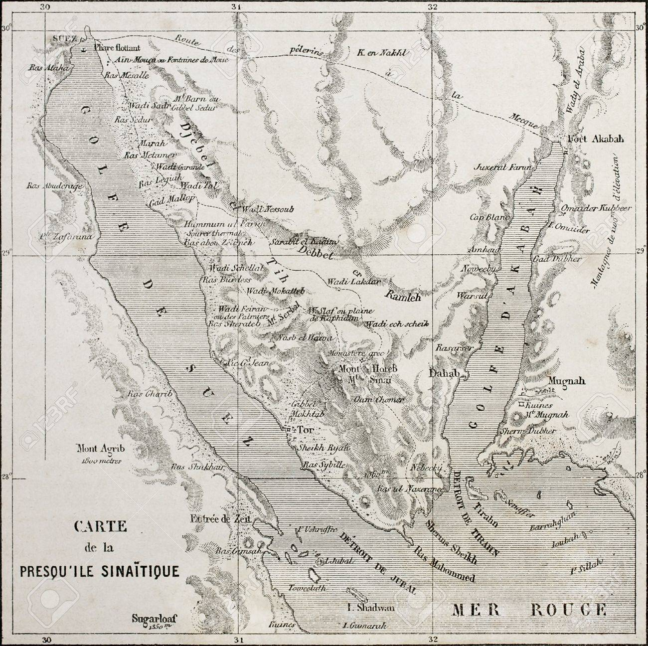 Old map of Sinai peninsula  Created by Erhard, published on