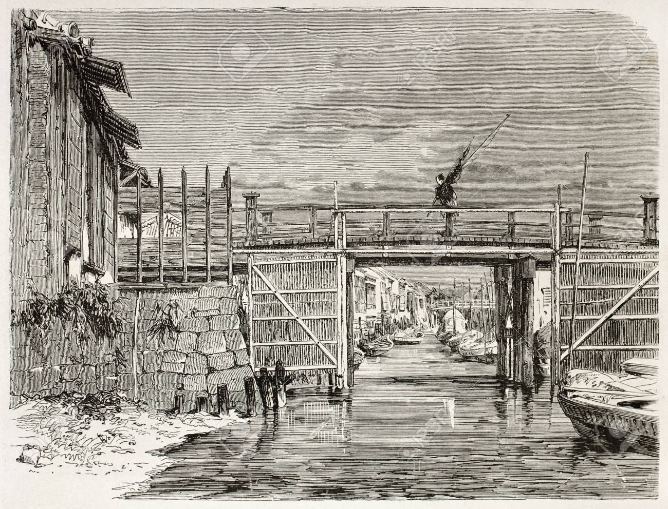 Channel in Yedo (Tokyo) old view. Created by Therond after photo of unknown author, published on Le Tour du Monde, Paris, 1867  Stock Photo - 15180250
