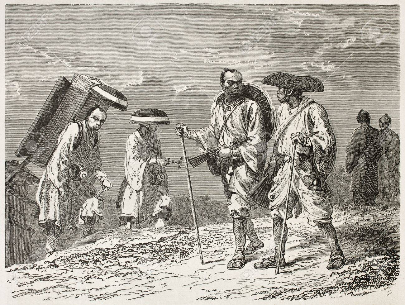 Japanese civilian, colporters and pilgrims old illustration. Created by Neuville after Japanese sketches of unknown author, published on Le Tour du Monde, Paris, 1867  Stock Photo - 15180287