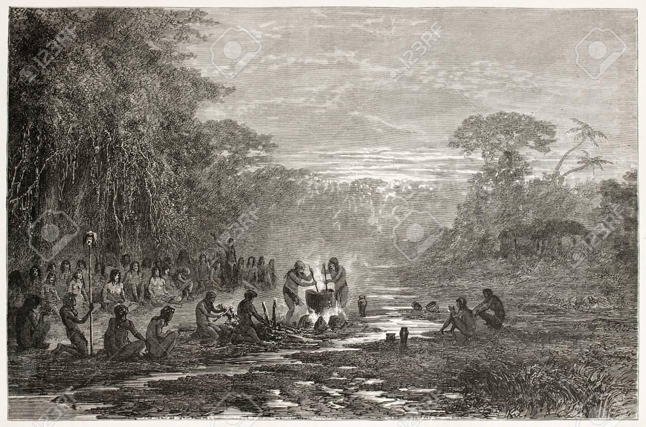 Masaya indigenous coocking old illustration, Amazonas. Created by Riou, published on Le Tour du Monde, Paris, 1867 Stock Photo - 15180322