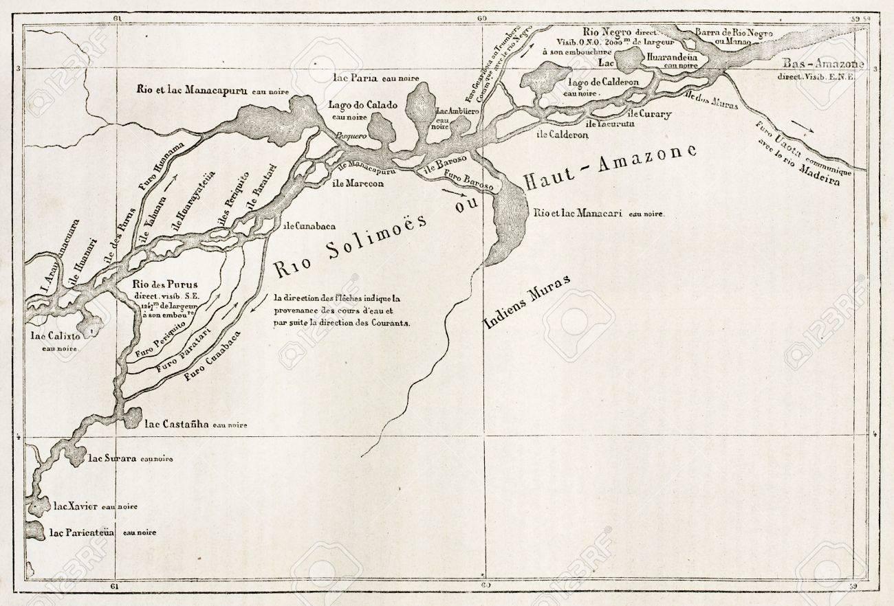Rio Solimões Ancienne Carte Le Brésil Fleuve Amazone Avant Confluece Avec Rio Negro Par Auteur Non Identifié Publié Sur Le Tour Du Monde Paris