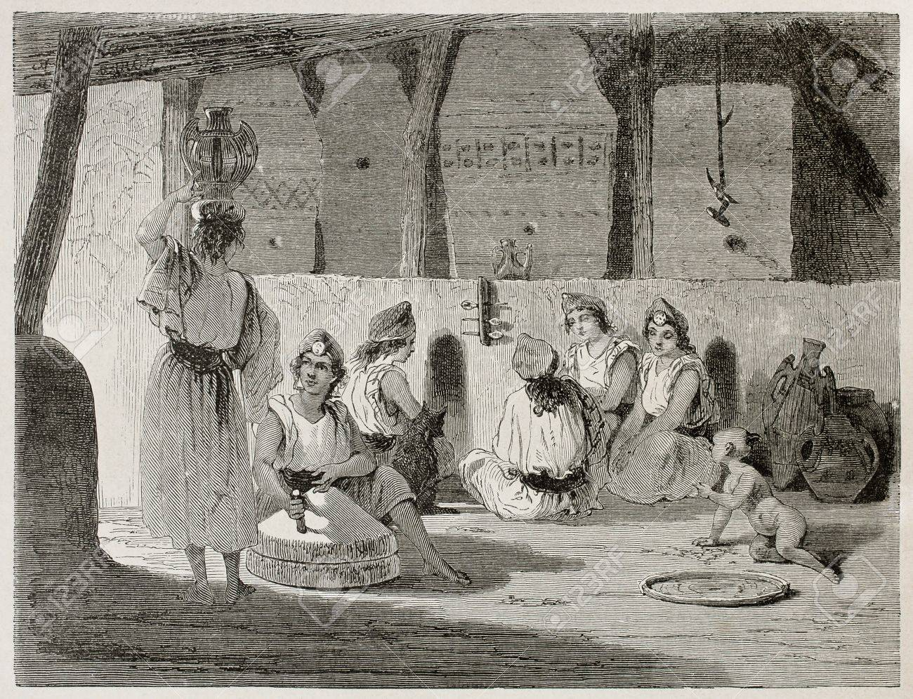 Algerian women in home interior old illustration. Created by Stop after Duhousset, published on Le Tour Du Monde, Paris, 1867 Stock Photo - 15181253