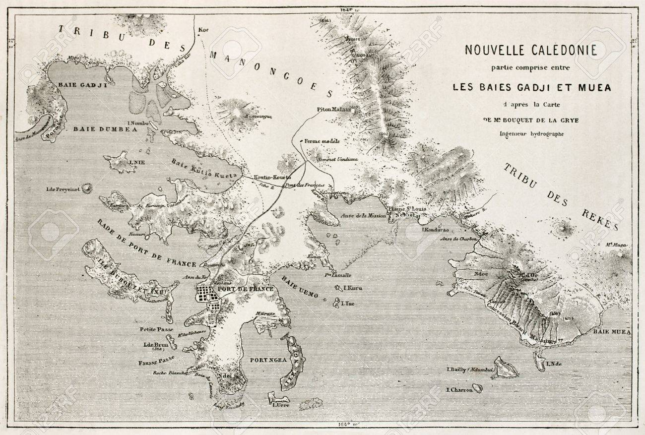 Noumea Region Old Map New Caledonia After Bouquet De La Grye