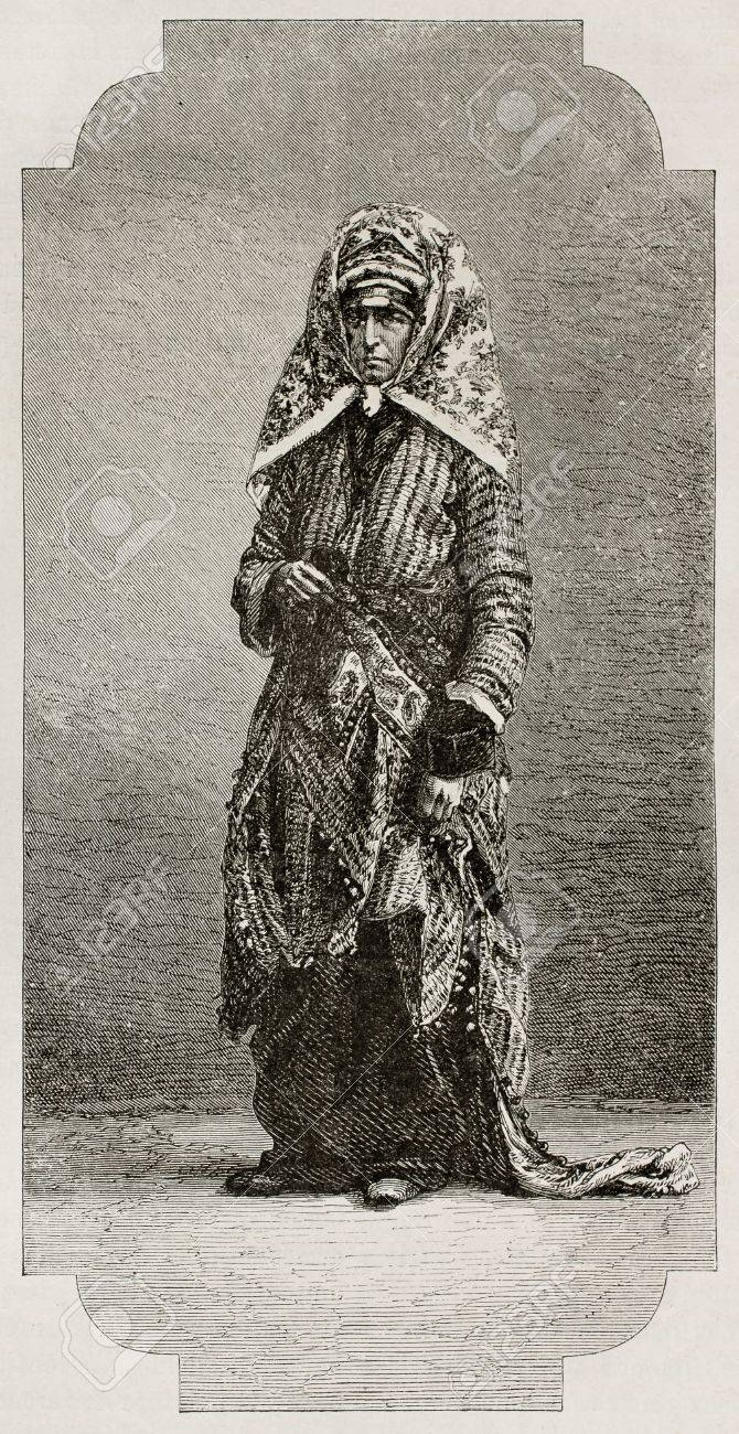 Old Jew woman old engraved portrait. Created by Neuville and Laplante after photo of unknown author, published on Le Tour du Monde, Paris, 1867 Stock Photo - 15181185
