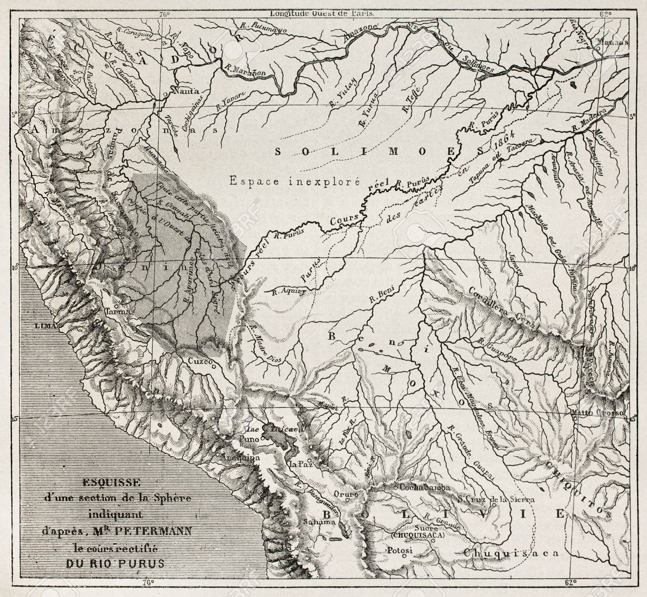 Purus River Basin Old Map South America After Sketch By - Old maps of america