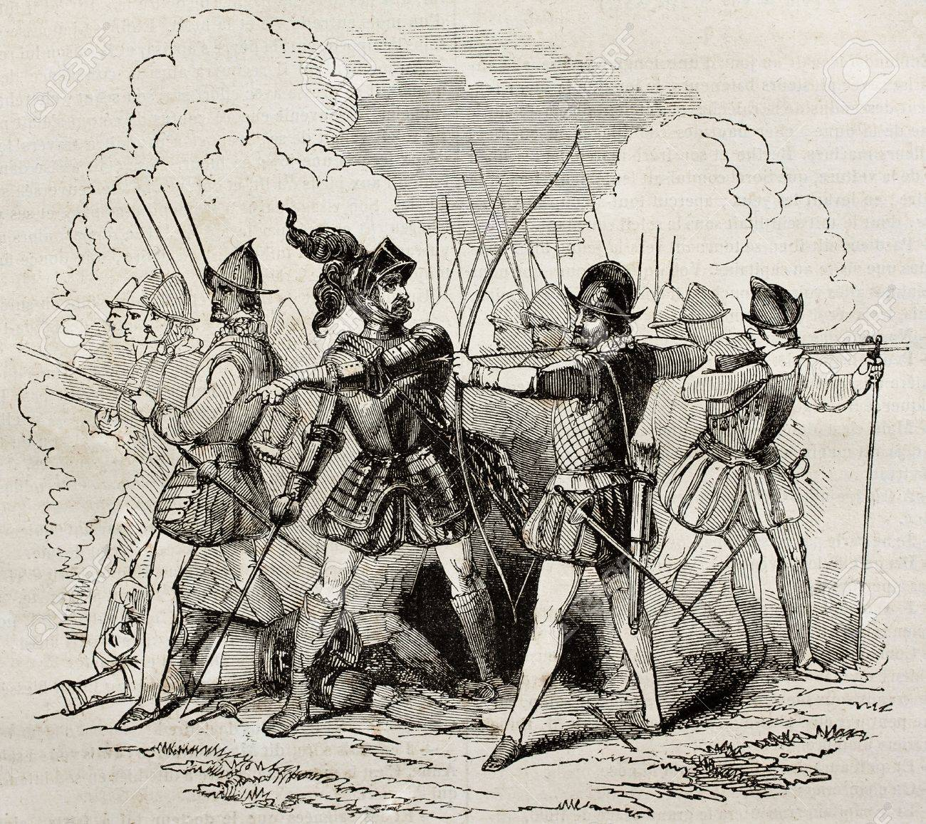 16th century soldiers and weapons, old illustration. By unidentified author, published on Magasin Pittoresque, Paris, 1840 Stock Photo - 15204046