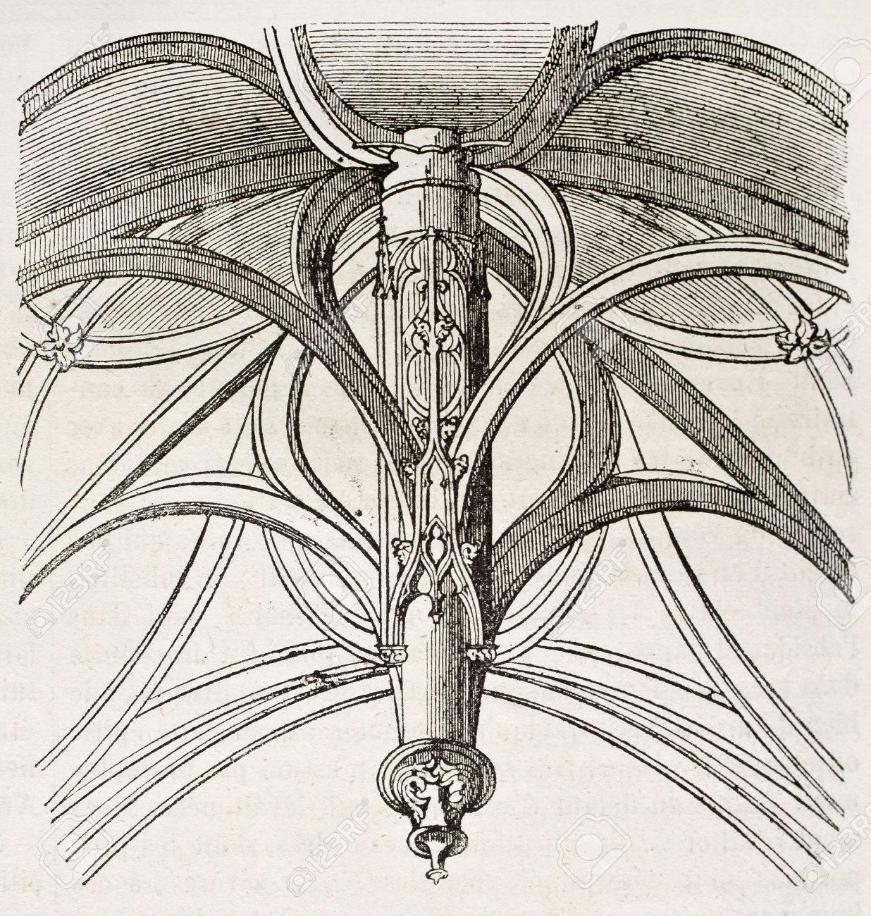 The vault of Vierge-de-Saint-Gervais chapel, architectonic detail, Paris. By unidentified author, published on Magasin Pittoresque, Paris, 1840 Stock Photo - 15204106