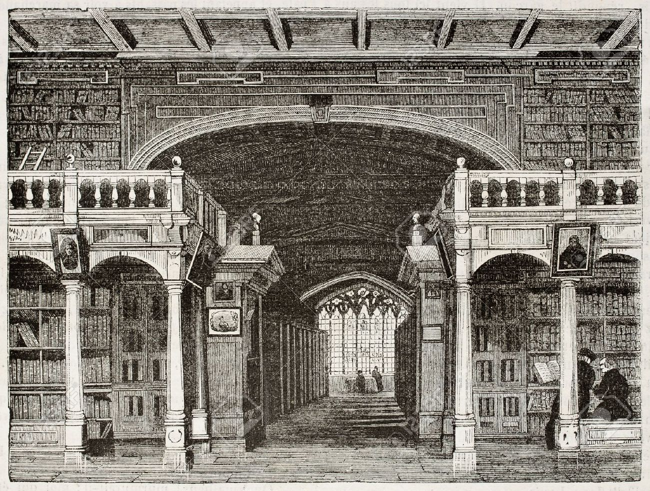 Bodleian library interior old illustration, University of Oxford. By unidentified author, published on Magasin Pittoresque, Paris, 1842 Stock Photo - 15269956