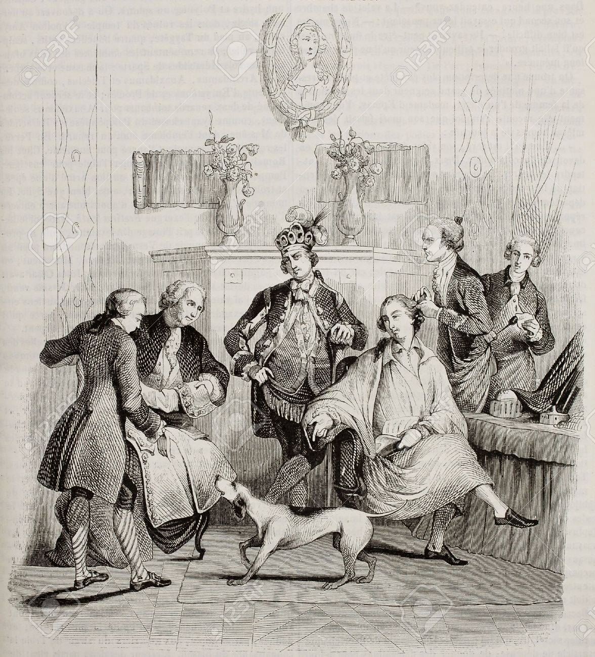 Aristocratic hairdressing old illustration. Created by Moreau, published on Magasin Pittoresque, Paris, 1842 Stock Photo - 15270381