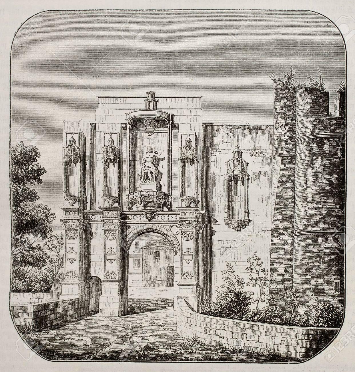 Nantouillet castle entry, France. By unidentified author, published on Magasin Pittoresque, Paris, 1842 Stock Photo - 15270375