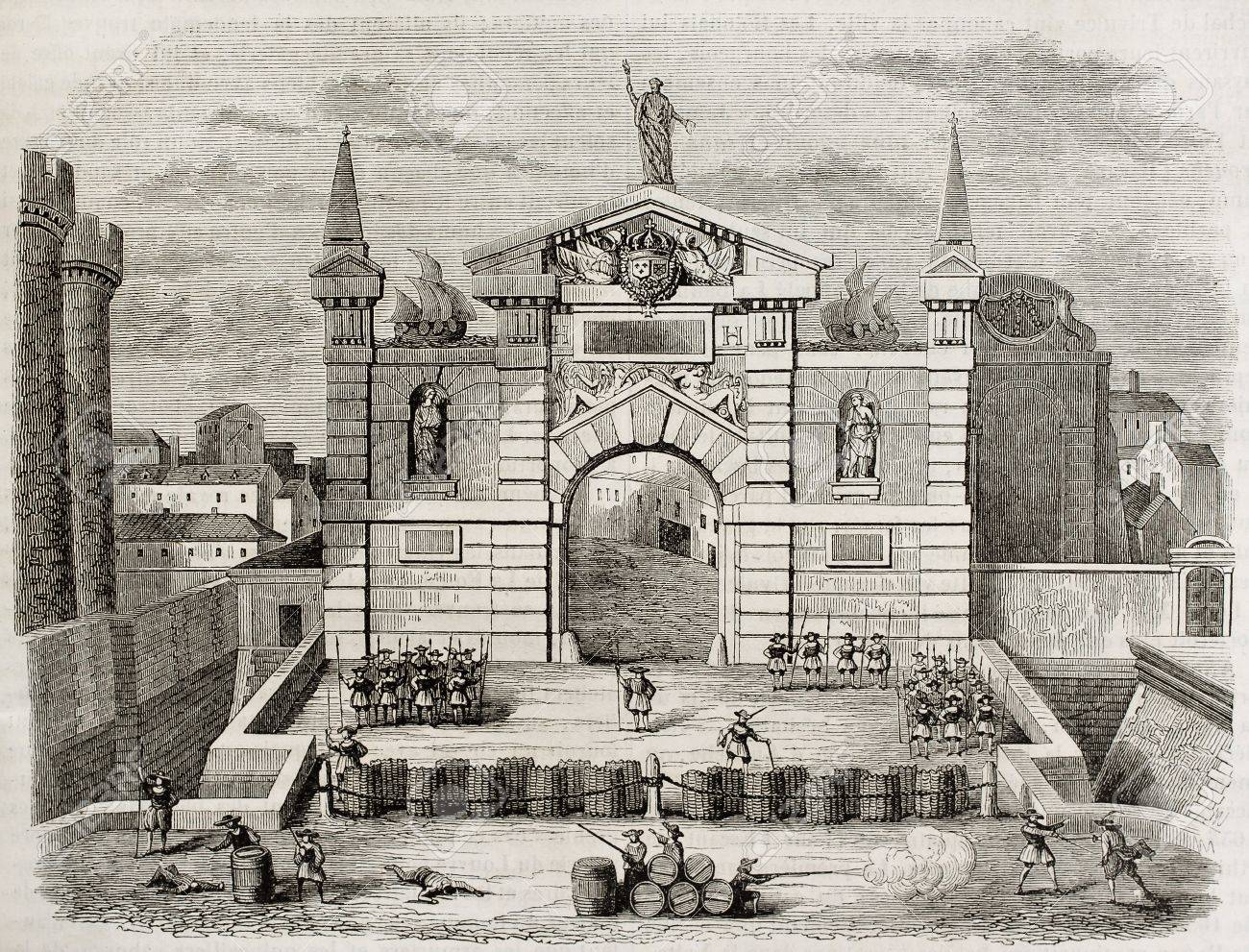 Barricade in Saint-Antoine gate, Paris (now demolished). By unidentified author after antique print, published on Magasin Pittoresque, Paris, 1842 Stock Photo - 15270305