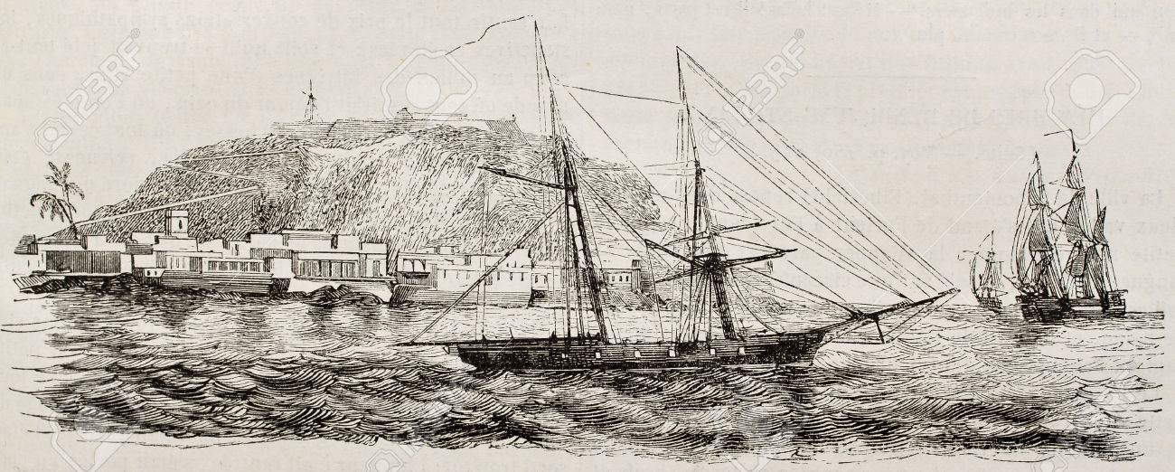 Goree island old view, Senegal. Created by Durand-Brager, published on Magasin Pittoresque, Paris, 1843 Stock Photo - 15270499