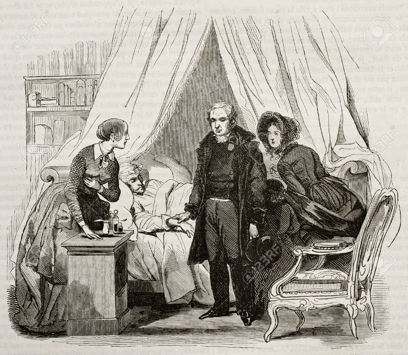 Doctor visiting ill man. Created by Lamy, published on Magasin Pittoresque, Paris, 1843 Stock Photo - 15270023