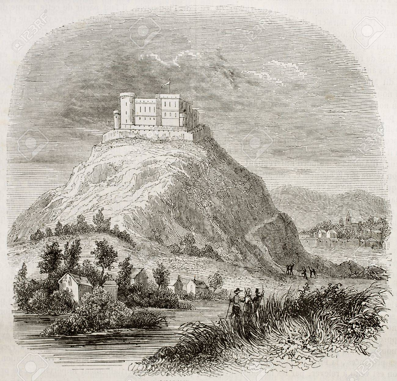 Spilberk castle old view, southern Moravia, Czech republic. By unidentified author, published on Magasin Pittoresque, Paris, 1842 Stock Photo - 15270307