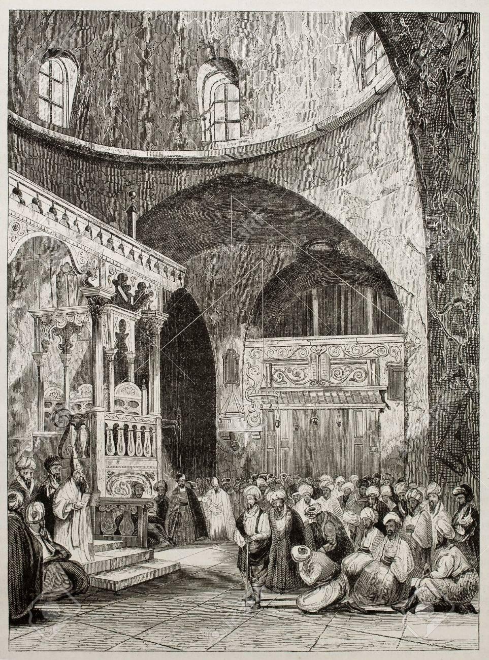 Sinagogue Interior Old Illustration, Jerusalem. By Unidentified ...