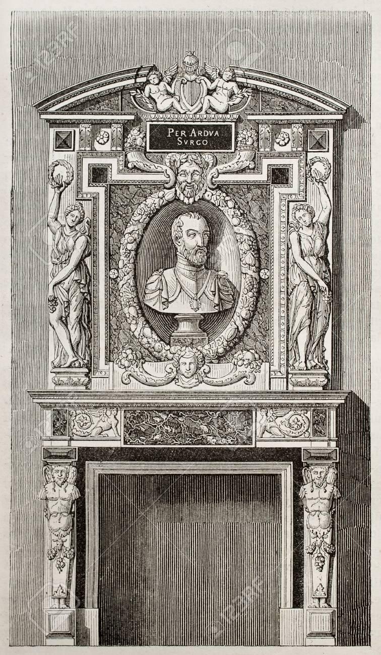 Villeroy castle fireplace, kept in Louvre museum, Paris. By unidentified author, published on Magasin Pittoresque, Paris, 1843 Stock Photo - 15270022