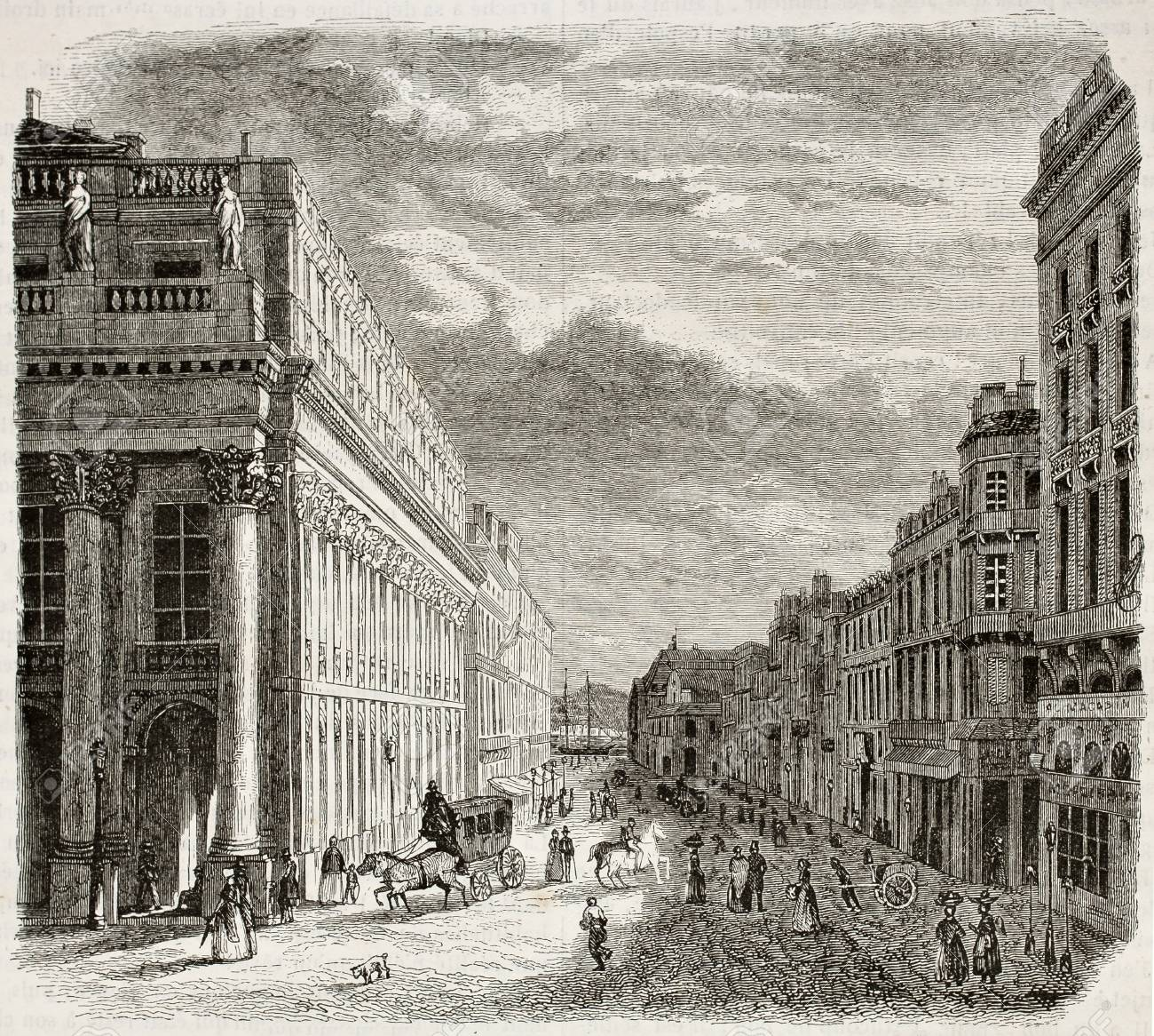 Rue du Chapeaux Rouge old view, Bordeaux, France. Created by Drouyn and Pagny, published on Magasin Pittoresque, Paris, 1844 - 15270138