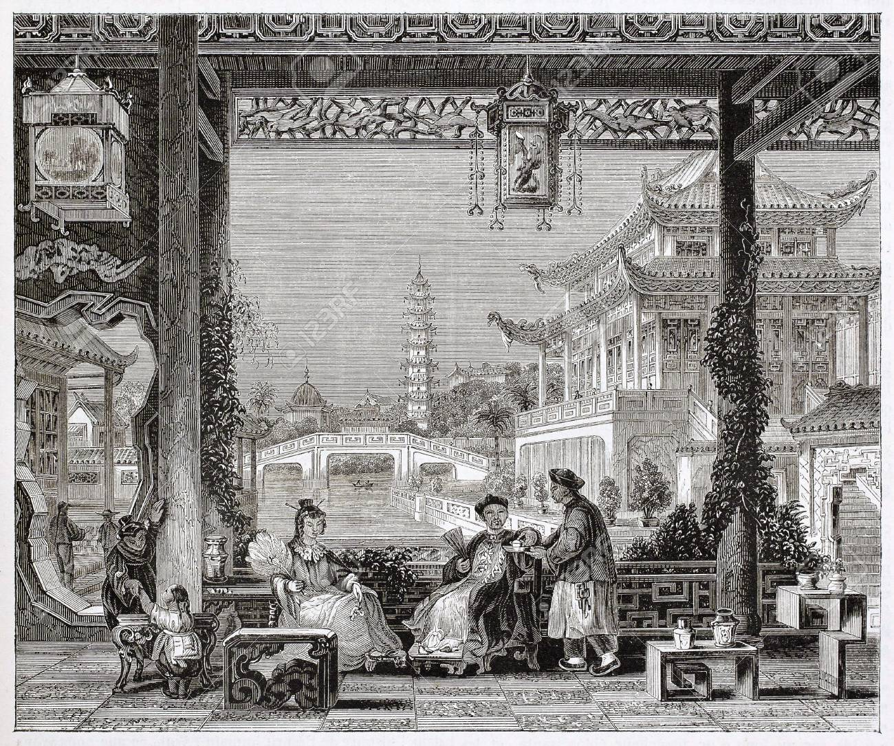 Mandarin house in Beijing, old illustration. By unidentified author, published on Magasin Pittoresque, Paris, 1844 Stock Photo - 15270511