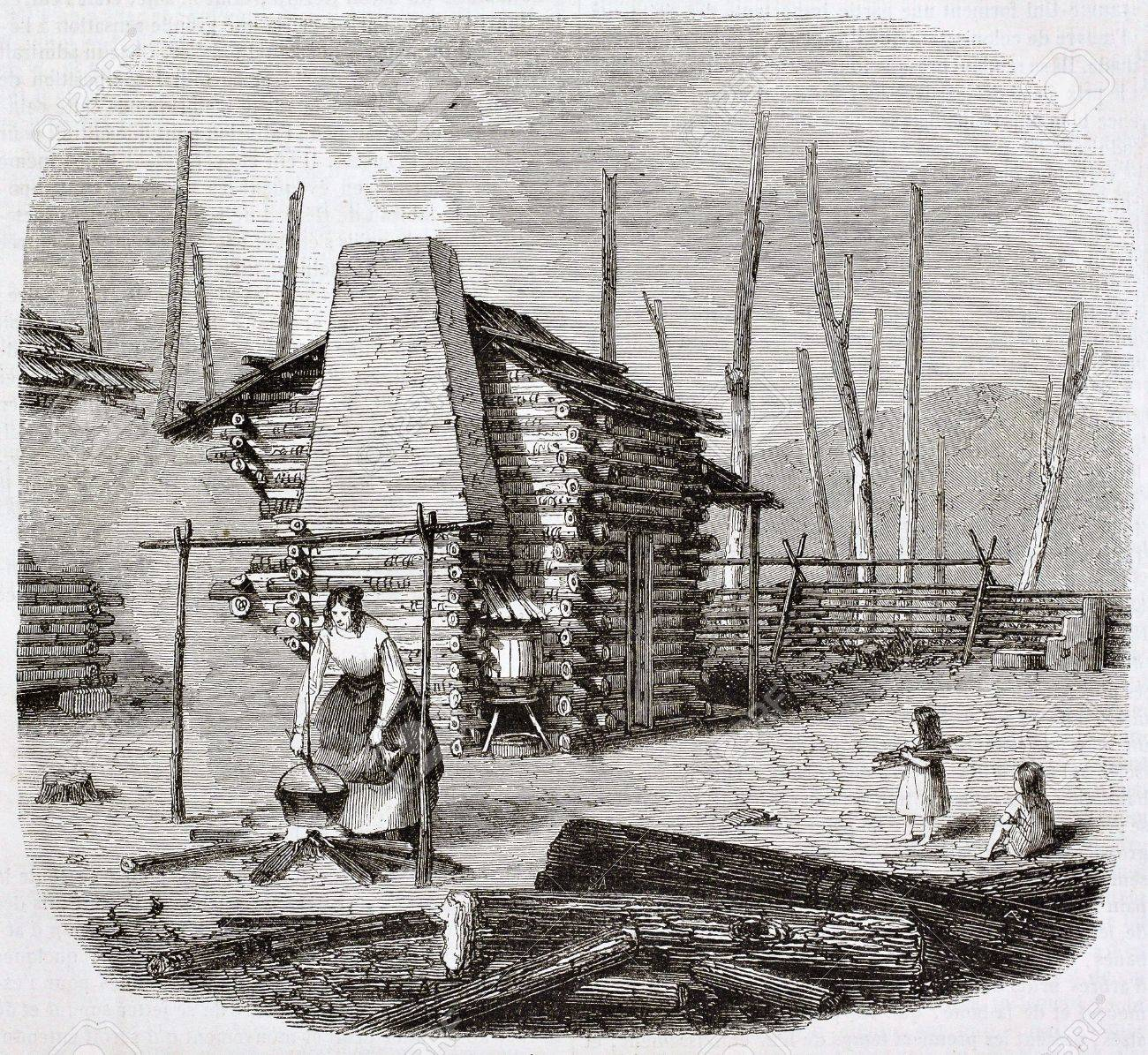 North-American pioneers hut, old illustration. Created by Saint-Aulaire, published on Magasin Pittoresque, Paris, 1844 Stock Photo - 15270161