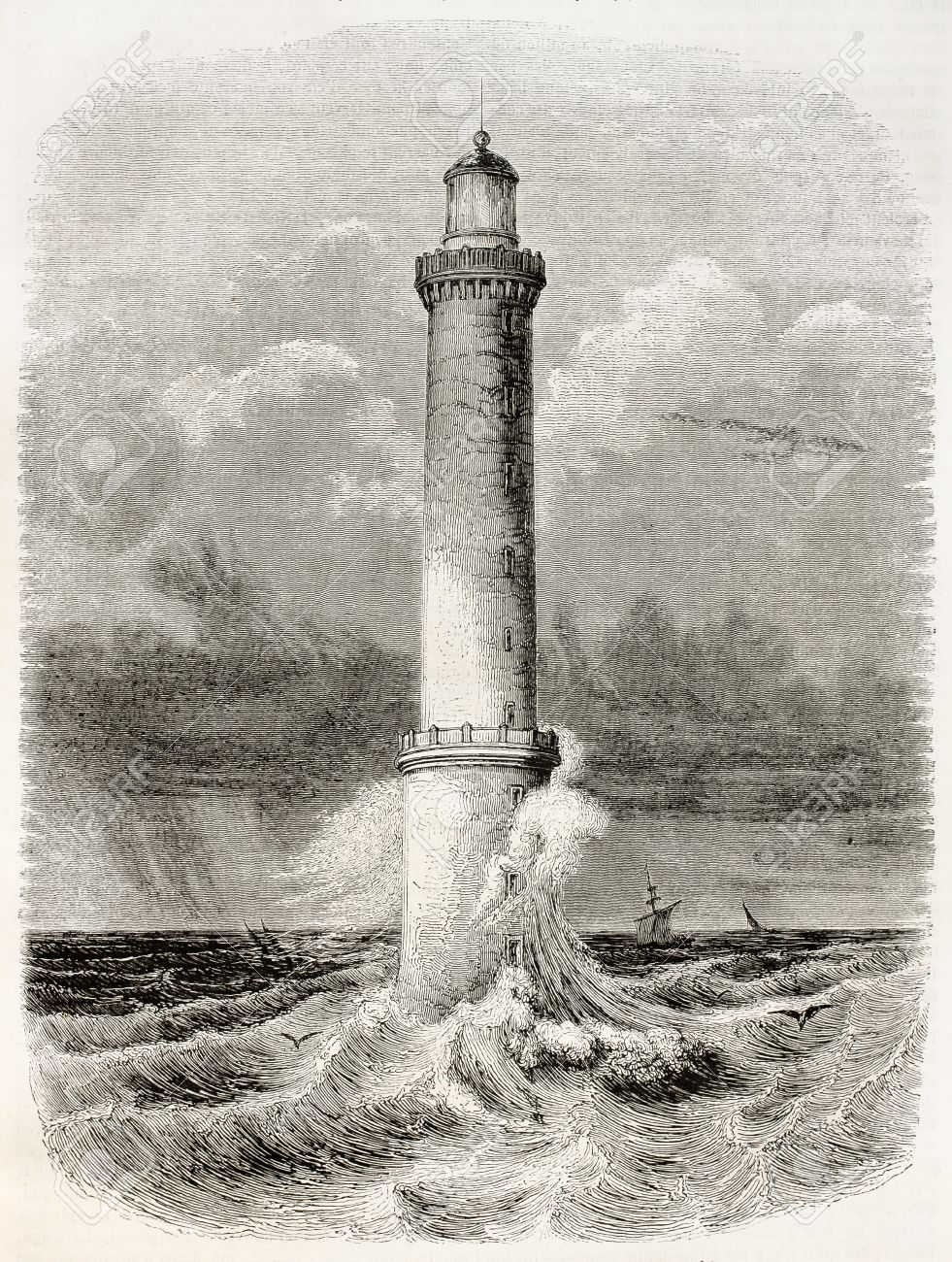 Heaux de Brehat lighthouse old illustration, France. By unidentified author, published on Magasin Pittoresque, Paris, 1845 Stock Photo - 15270546