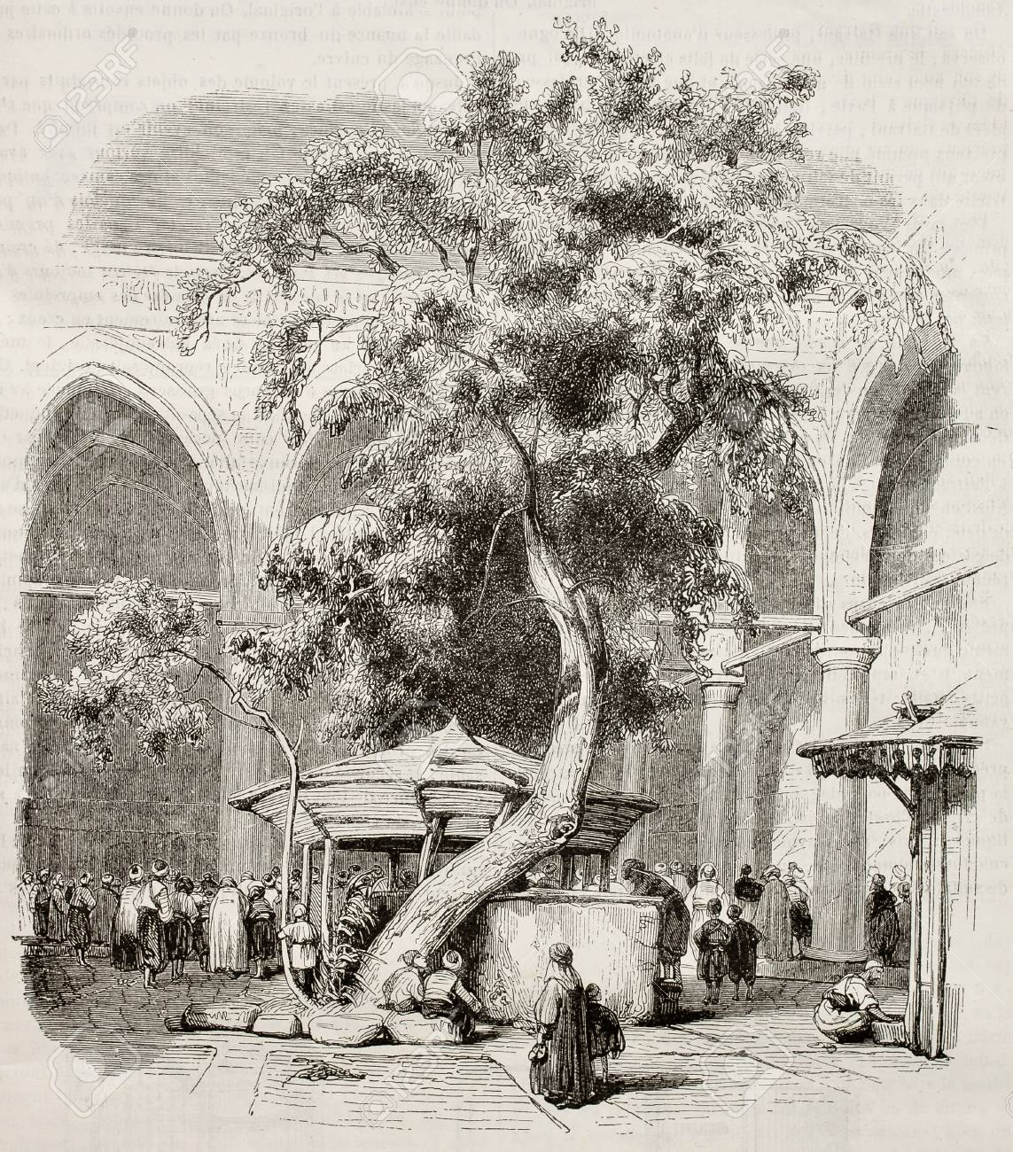 Mosque of Kesmas-el-Baradeyeh courtyard, Cairo. Created by Girardet, published on Magasin Pittoresque, Paris, 1845 Stock Photo - 15270234
