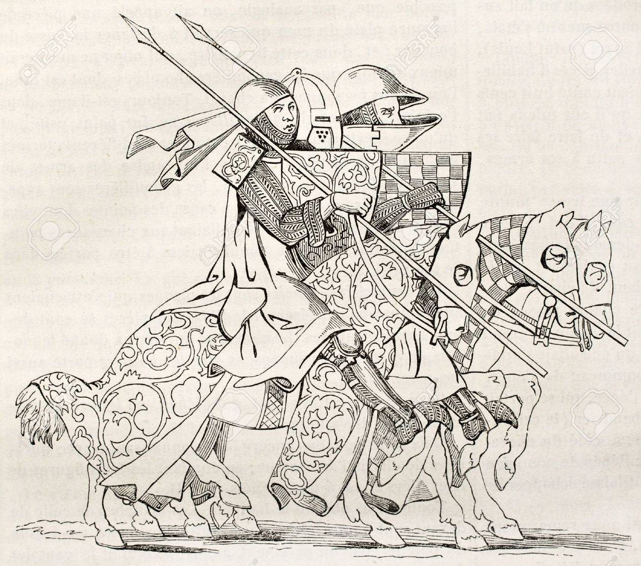 knights going to a tourney after 14th century manuscript