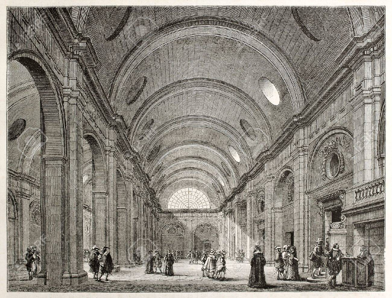 Palais de Justice interior (salle-de-pas-perdus), Paris. Created by Best, Leloir, Hotelin and Regnier, published on Magasin Pittoresque, Paris, 1845 Stock Photo - 15270544