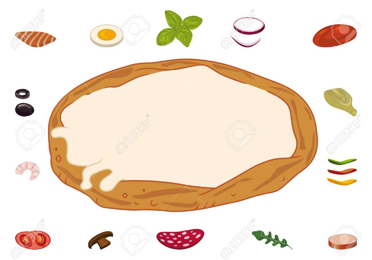 Sheet of pizza and ingredients for custom recipes Stock Vector - 15333222