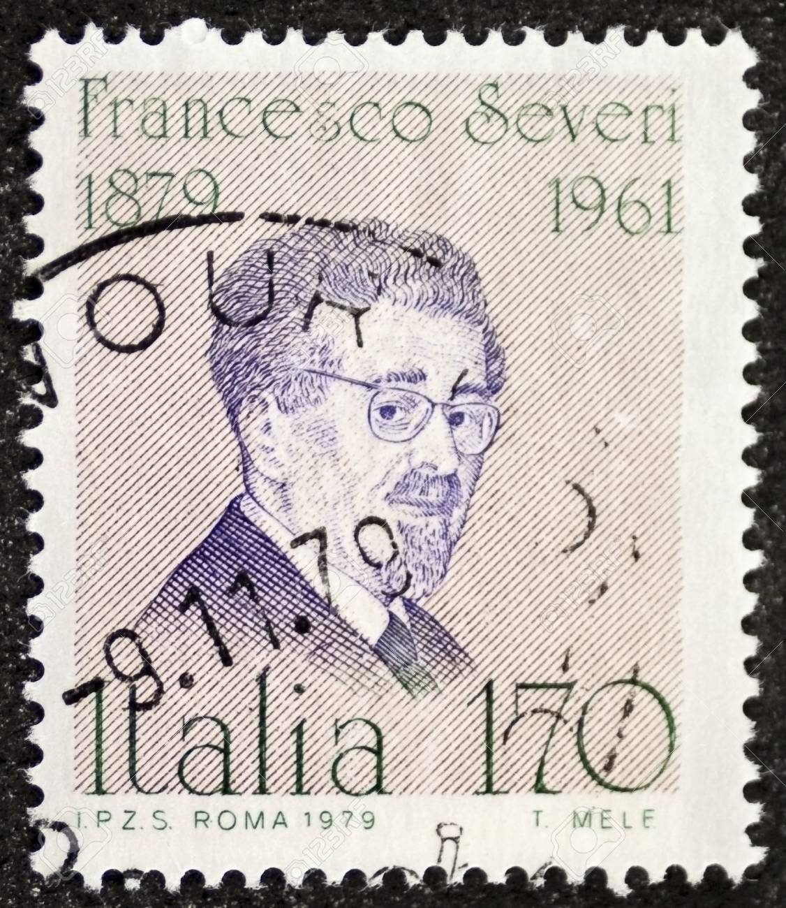 ITALY � CIRCA 1979: a stamp printed in Italy celebrates Francesco Severi (1879 - 1961), famous Italian mathematician, remembered for his contributions in algebraic geometry. Italy, circa 1979 Stock Photo - 21844245