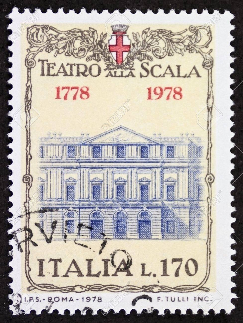 ITALY CIRCA 1978: a stamp printed in Italy shows illustration of  La Scala theatre facade, famous opera house in Milan. Italy, circa 1978 Stock Photo - 22059090