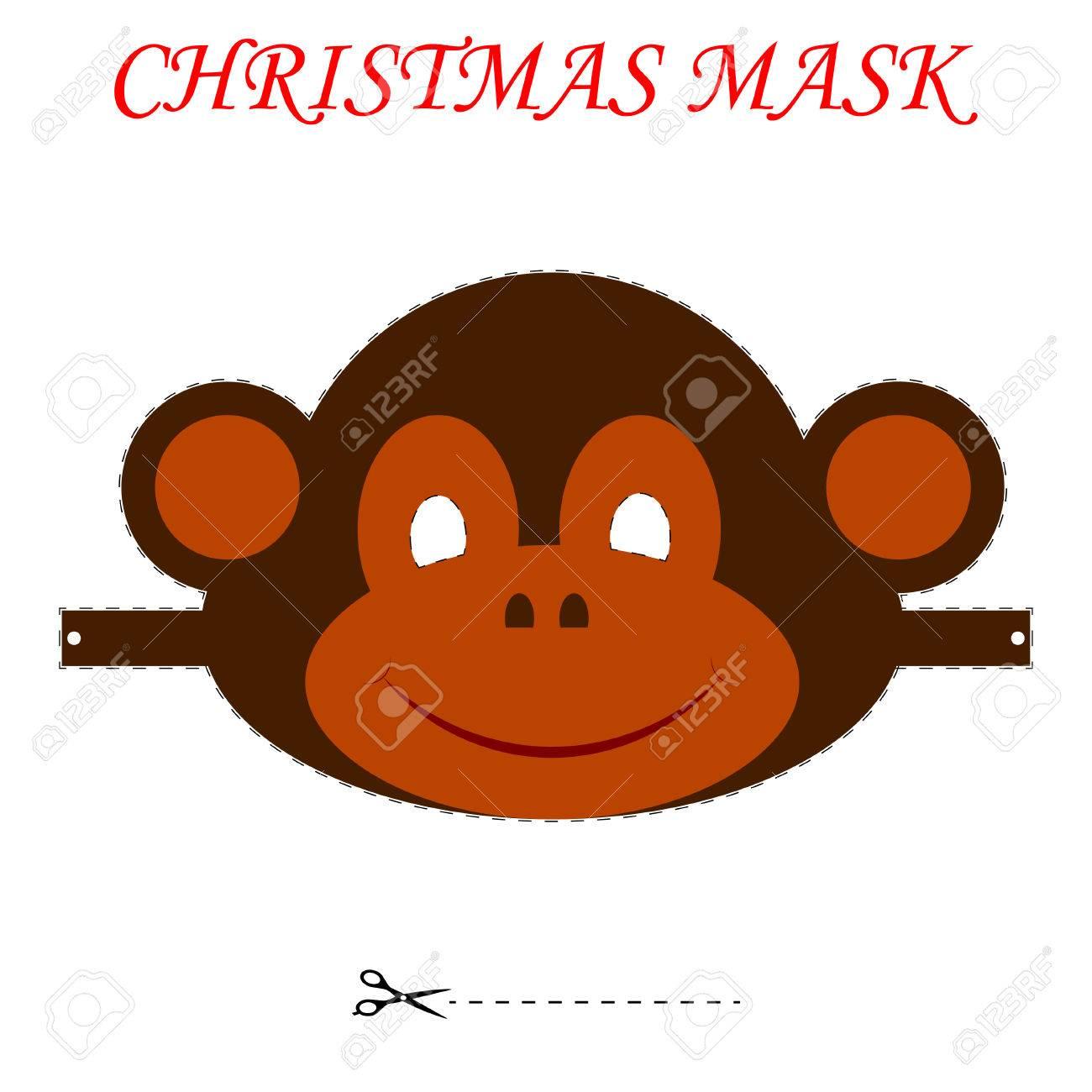 Patrón Para Navidad Máscaras De Los Niños. Máscara Mono Navidad ...