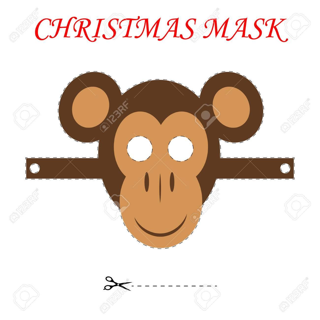 template for children s christmas masks christmas monkey mask