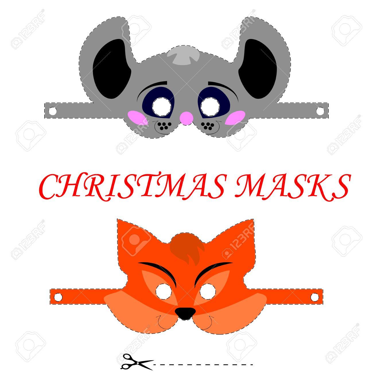 Modelo Del Vector Para La Navidad Máscaras De Los Niños. Animales ...