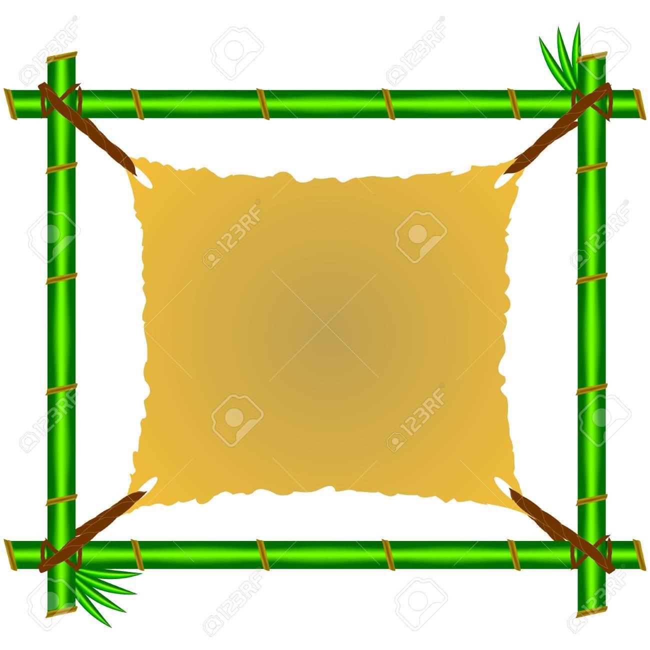 Grüner Bambus-Rahmen Mit Zerlumpten Leinwand. Lizenzfrei Nutzbare ...