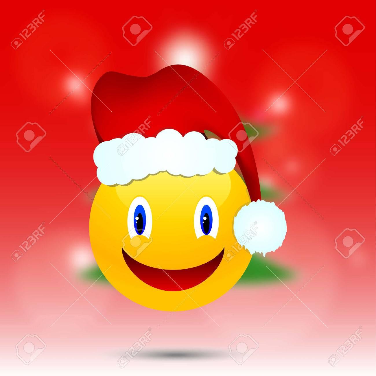 Smiley In Weihnachtsmütze Auf Einem Unscharfen Hintergrund ...