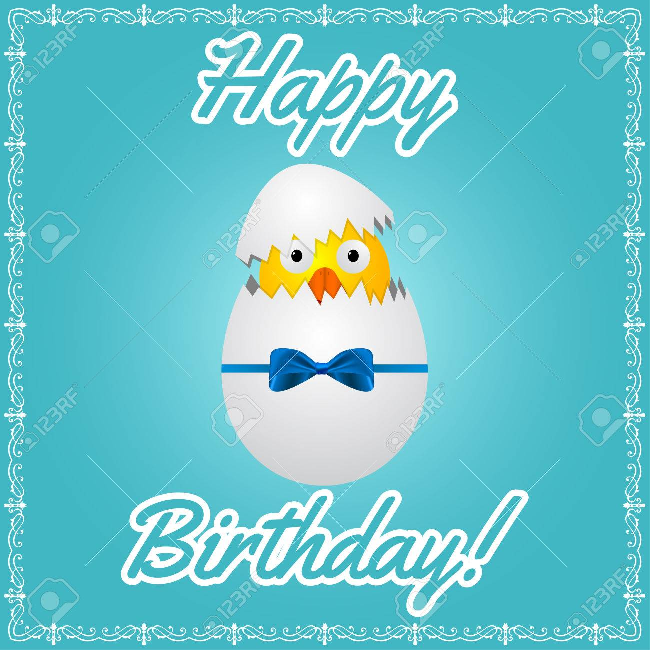 Birthday Greeting Card With Cute Little Chicken In Egg Vector