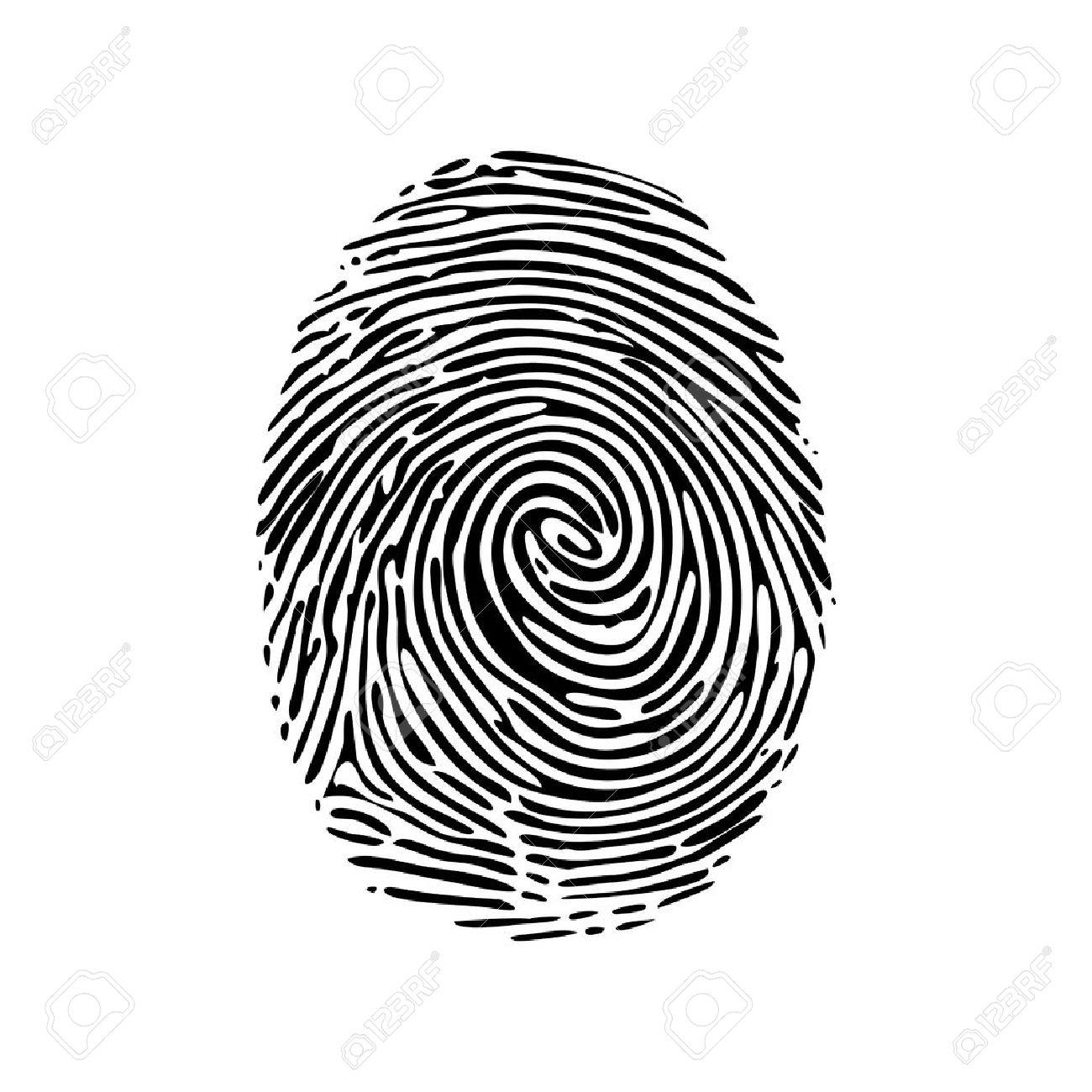 Großartig Bild Fingerabdruck Referenz Von Realistische Auf Einem Weißen Hintergrund. Fingerabdruck-symbol. Schwarz