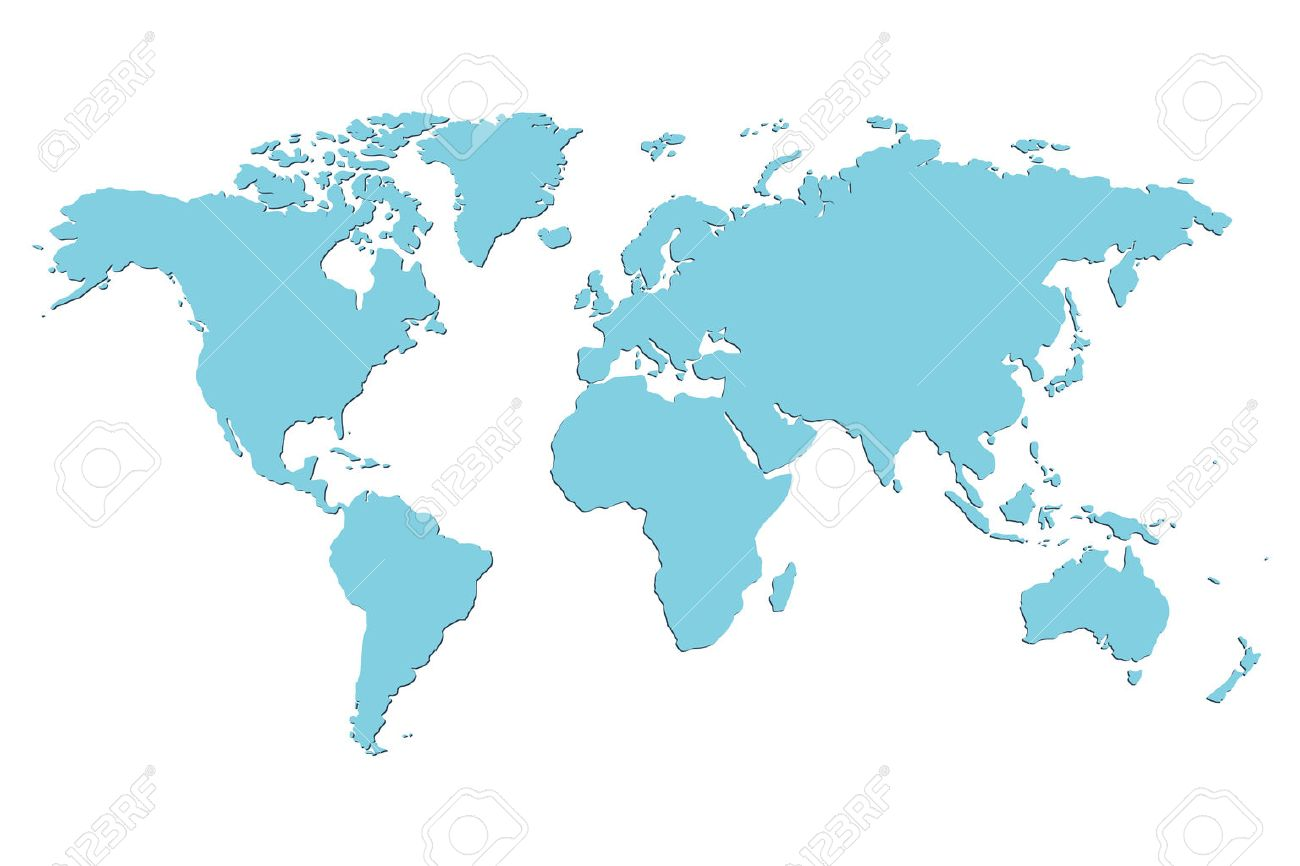 Worldmap vector template. World map for infographic. Blue blank world map. Silhouette world map. Isolated vector world map. Stock vector world map. - 55447111