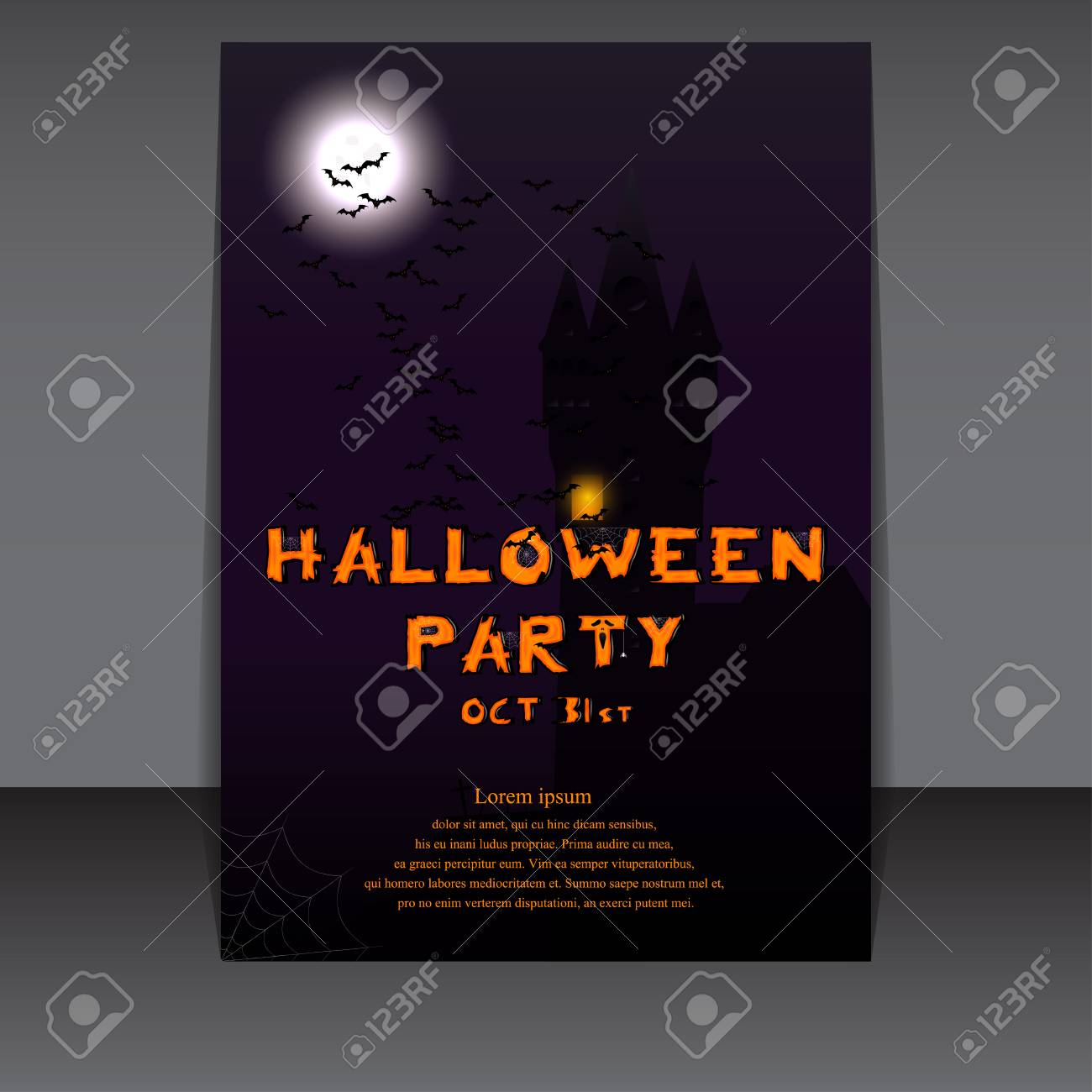 Halloween Flyer Design With Castle Silhouette On Full Moon Vector Illustration Template For