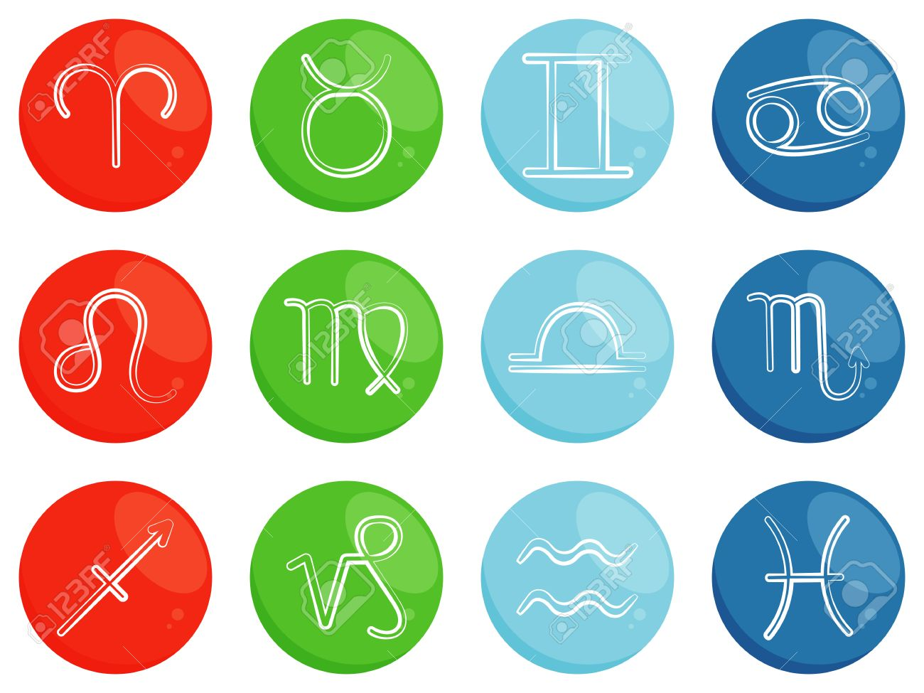Vector Zodiac Signs Symbols Of Horoscope Zodiac Signs Sorted