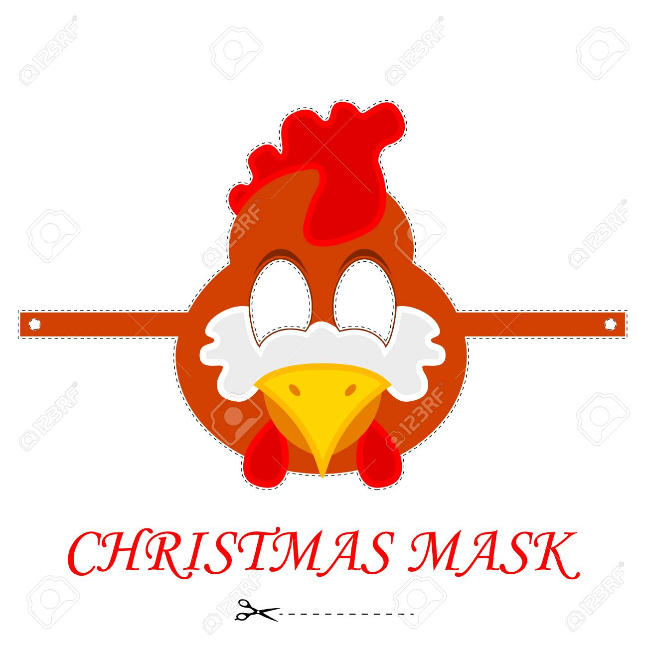 Vector De Dibujos Animados Gallo Máscara. Cock Plantilla De Máscara ...