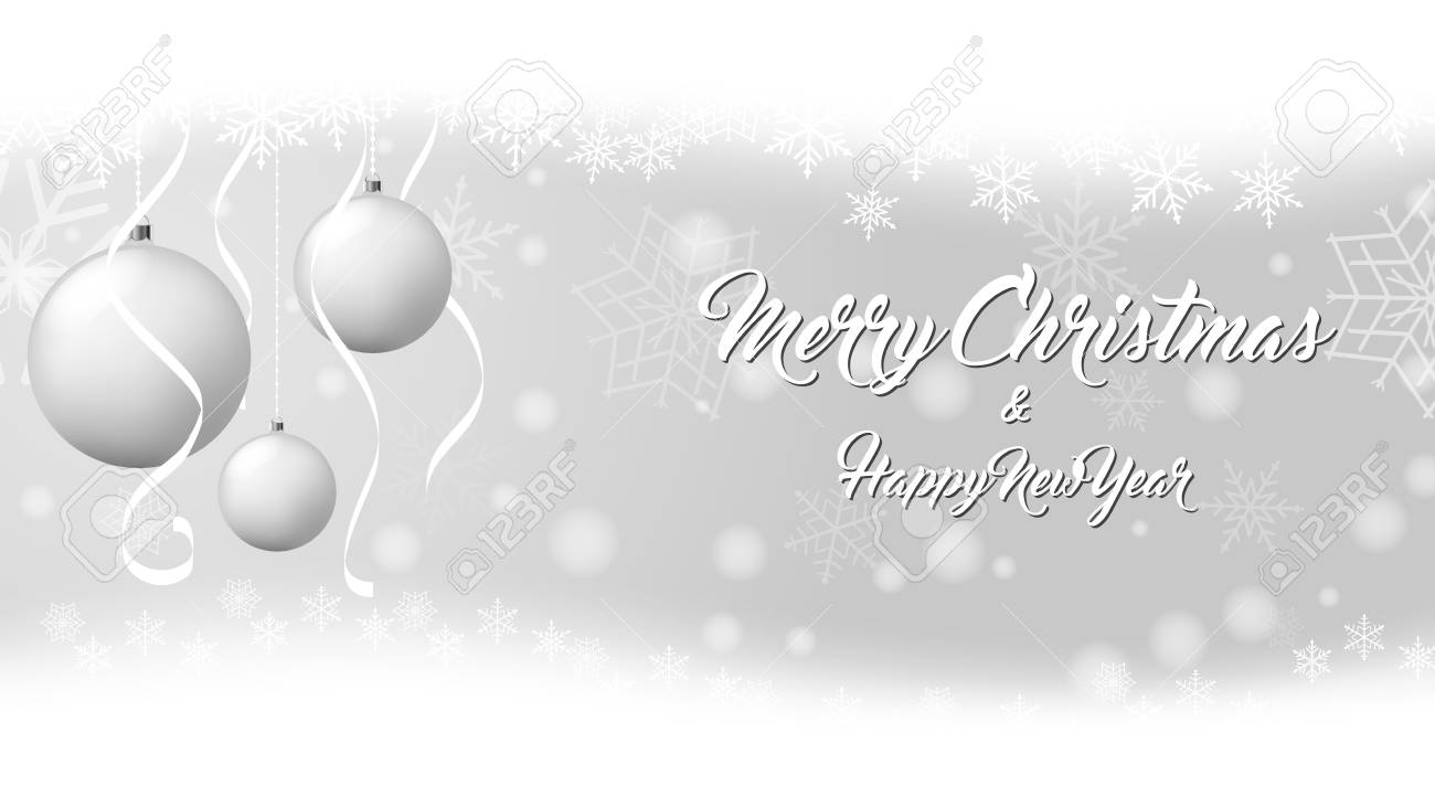 White Christmas Snow Background.White Christmas Balls On Snow Background Vector Illustration