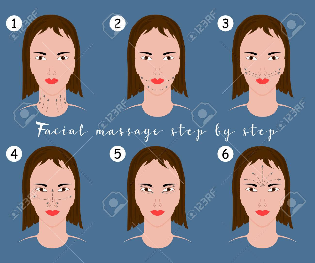 Set Of Face Massage Instructions Isolated On Blue Background