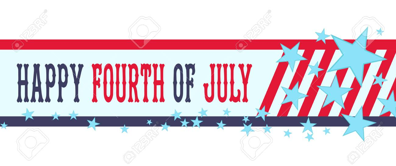 Happy Fourth Of July Banner With Stars And Stripes. USA ...