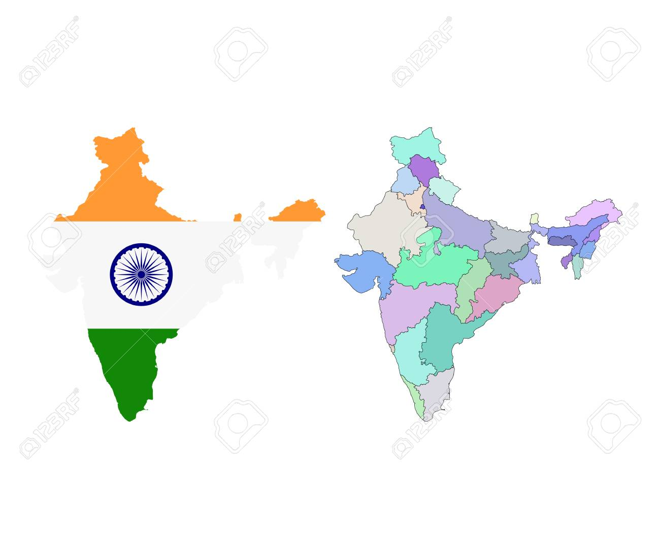Vector   Vector Map Of India With The States Colored In Bright Colors And  National Flag. India Map. Isolated On White.