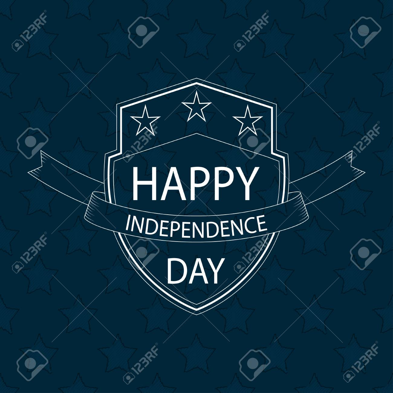 Vector Happy Independence Day Text On Outline Shield With Ribbon