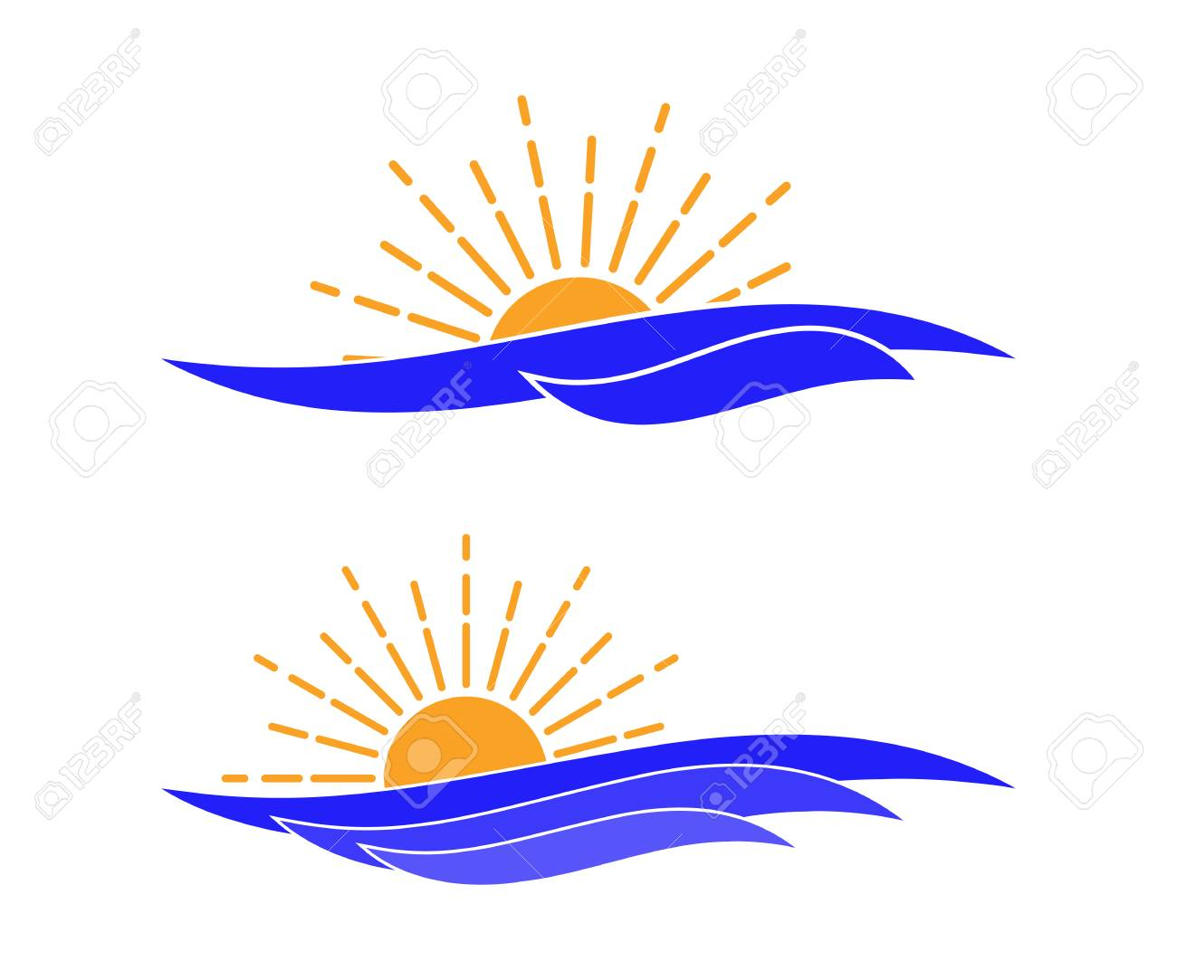 vector ocean waves and sun icon template for logo of tour company